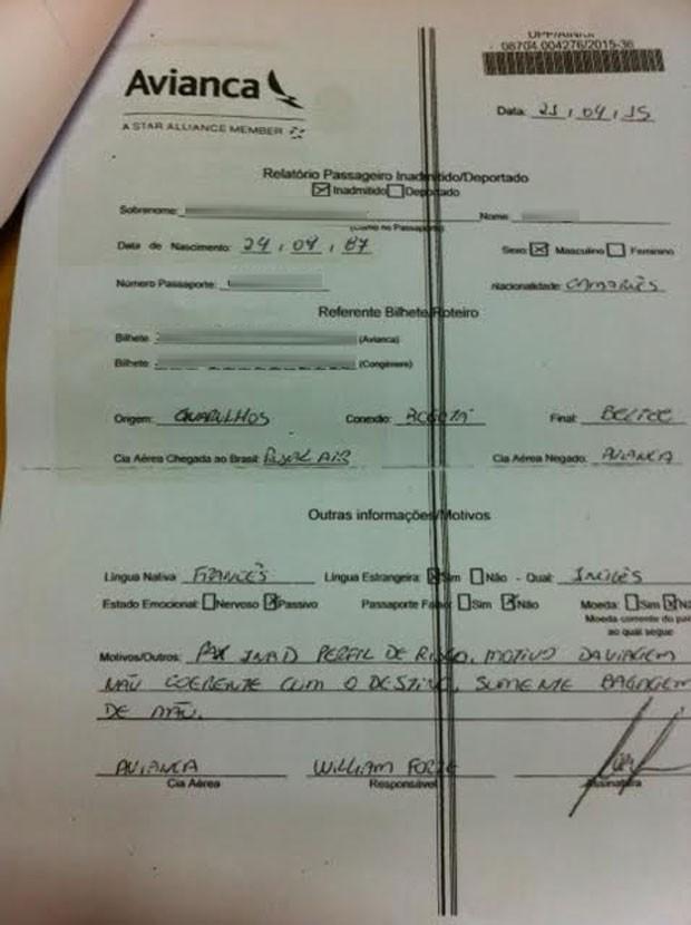 Cópia de documento que aponta perfil de risco de passageiro que não conseguiu seguir pegar voo da Avianca 2 (Foto: Letícia Macedo/ G1)