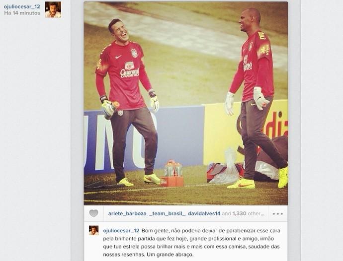 Post do Instagram de Julio César com Jefferson (Foto: Reprodução Instagram)