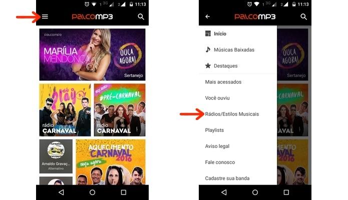 Caminho para busca de rádios no app Palco MP3 (Foto: Reprodução/Raquel Freire)