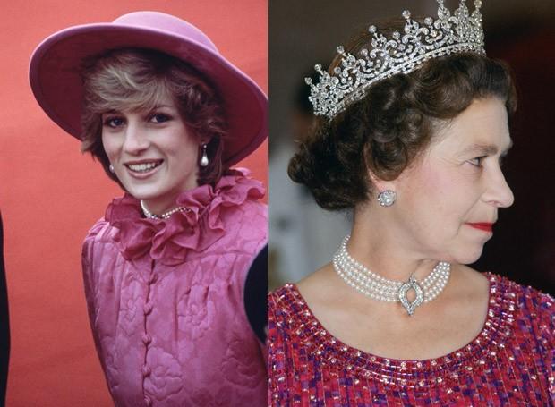 Diana e Elizabeth com a mesma gargantilha de pérolas (Foto: Getty Images)