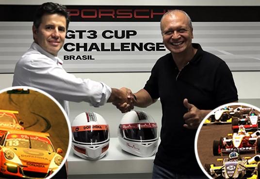 Dener Pires (esq.) selando o acordo firmado com a categoria liderada por Augusto Cesário. (Foto: Divulgação/ Guilherme Bantel/Porsche Cup)
