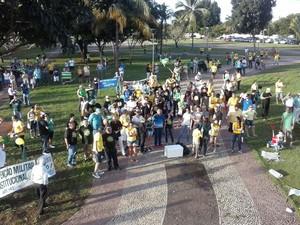 Manifestantes se reúnem na Praça dos Girassóis, em Palmas (Foto: Marcos Martins/G1)