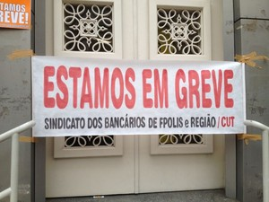 Greve dos bancos em Santa Catarina (Foto: EdSoul/RBS TV)