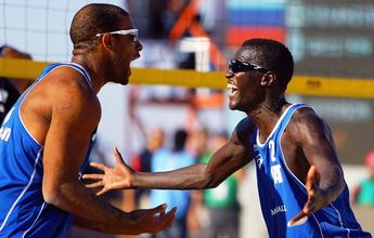 Brasileiro e senegalês colocam o Catar pela 1ª vez no vôlei de praia dos Jogos