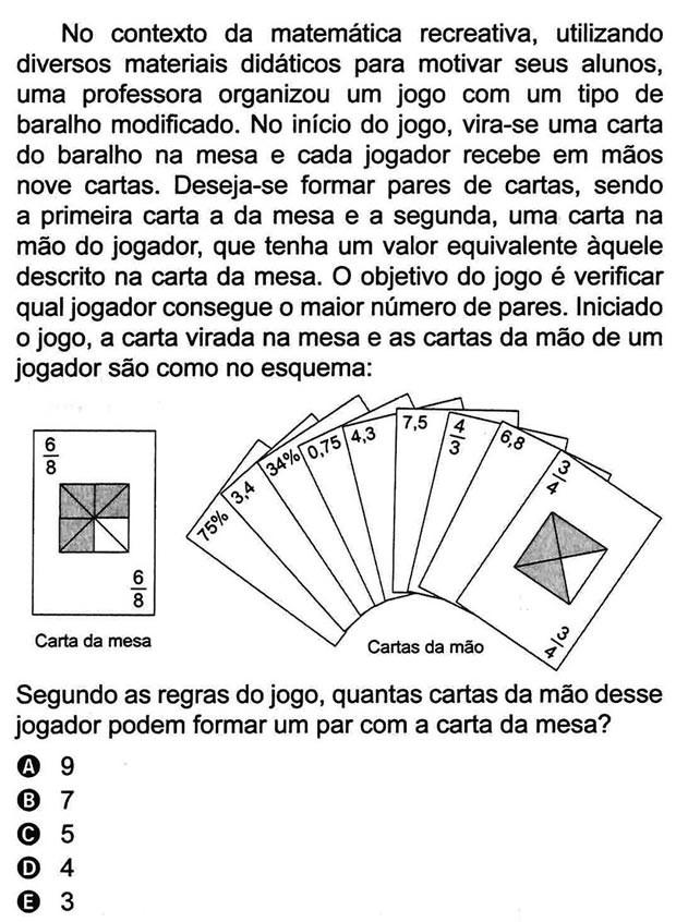 3 - Frações (2º Dia - 177 da Prova Amarela) (Foto: Reprodução/Inep)