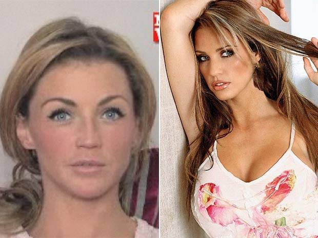À esquerda, Hollie Henderson, que gastou uma fortuna para ficar parecida com Katie Price. (Foto: Reprodução)