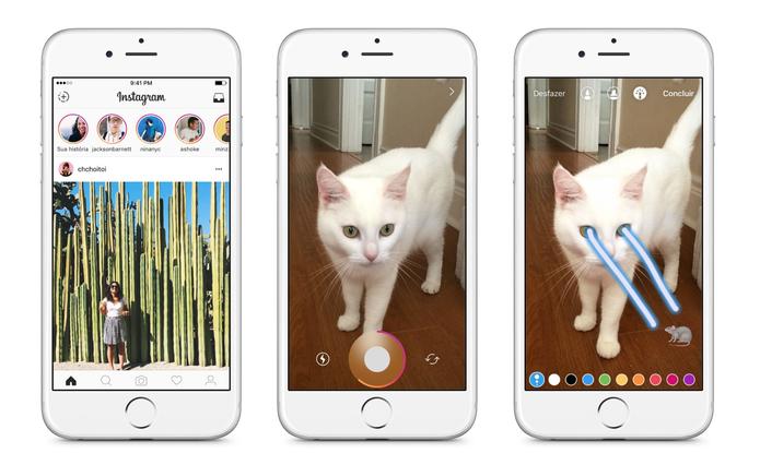 Instagram Stories fica numa barra antes do feed de posts (Foto: Reprodução/Instagram)