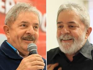 O ex-presidente Luiz Inácio Lula da Silva, ainda com barba, em novembro de 2011, e só com bigode, em dezembro de 2013 (Foto: Ricardo Stuckert/Instituto Lula)
