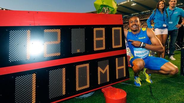 Aries Merritt recorde 110m com barreiras (Foto: AFP)