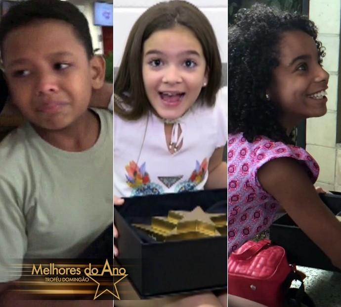 João Gabriel, Mel Maia e Sabrina Nonata são os finalistas de Ator/Atriz Mirim no Melhores do Ano (Foto: Gshow)