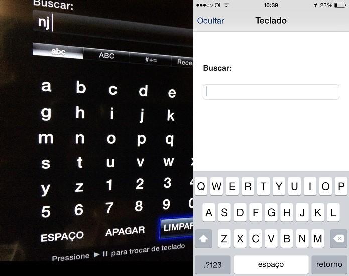 Usando o app Remote para digitar textos na Apple TV (Foto: Reprodução/Edivaldo Brito)
