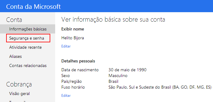 Configurações da conta Microsoft (Foto: Reprodução/Helito Bijora)