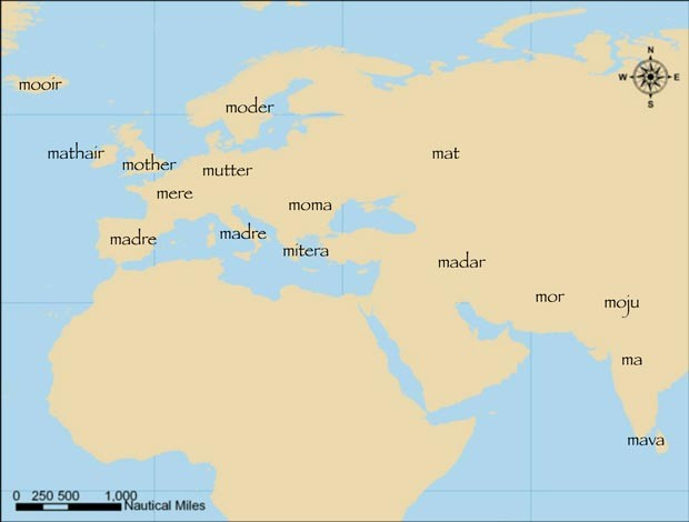 A palavra 'mãe' em diversas línguas indoeuropeias (Foto: Quentin Atkinson/Divulgação')