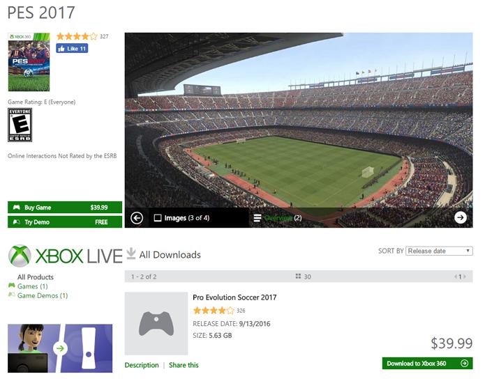 Página da versão de Xbox 360 de PES 2017 (Foto: Reprodução/André Mello)