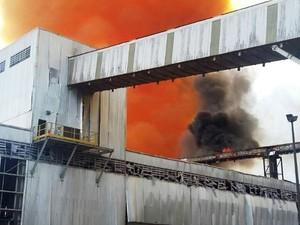 Incêndio aconteceu na unidade 2 da Vale em Cubatão (Foto: Divulgação/Corpo de Bombeiros)