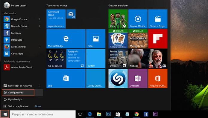 Acesse as configurações no menu iniciar do Windows 10 (Foto: Reprodução/Barbara Mannara)