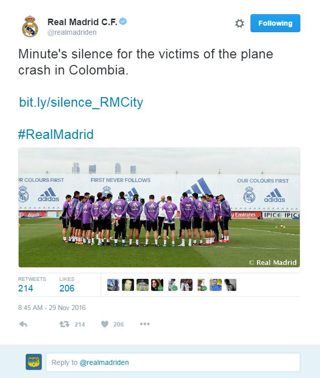 real madrid faz um minuto de silêncio