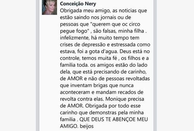 Conceição Nery, mãe de Monique Evans (Foto: Facebook/Reprodução)