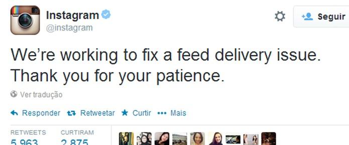 Em seu Twitter, Instagram confirma falha e pede paciência aos usuários (Foto: Reprodução)