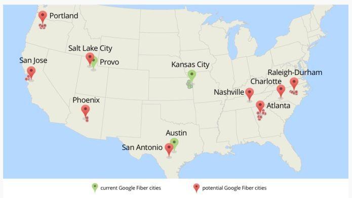 Cidades que possuem o Google Fiber, em verde, e as que vão ter o sistema, em vermelho (Foto: Divulgação)