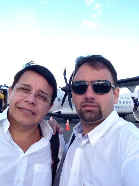 Advogado Miguel Karton fez uma 'selfie' em solo santareno, três minutos antes do detento fugir (Foto: Arquivo Pessoal/Miguel Karton)