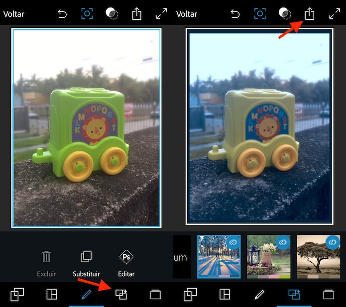 Tela de edição e aplicação de filtros em fotos do celular no Photoshop Express (Foto: Reprodução/Marvin Costa)