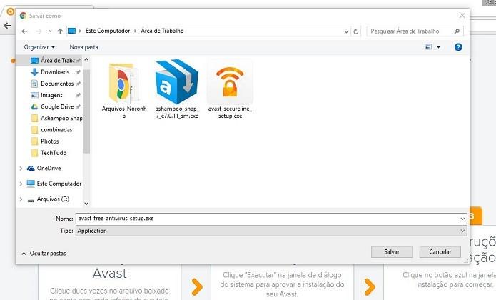Escolha o local para salvar o instalador offline (Foto: Felipe Alencar/TechTudo)