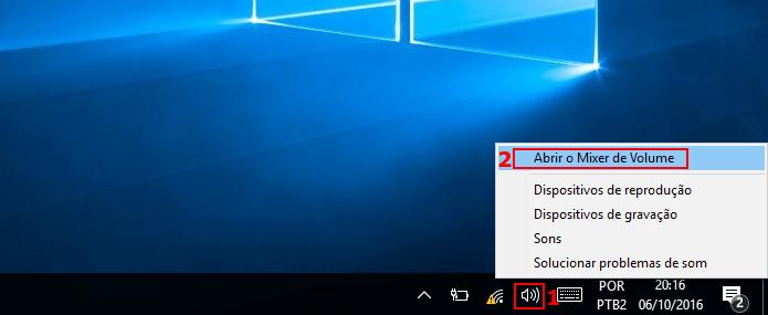 Acessando o Mixer de Volume do Windows (Foto: Reprodução/Edivaldo Brito)