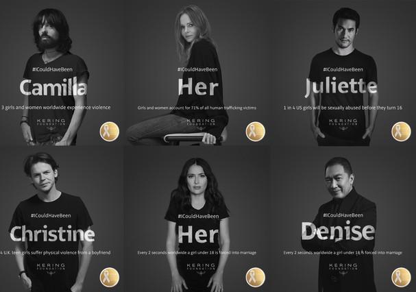 Embaixadores da campanha #ICouldHaveBeen, criada pela Fundação Kering para combater a violência contra as mulheres (Foto: Divulgação)