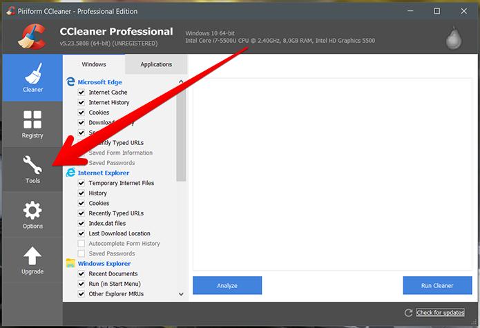 Abra o CCleaner e acesse o menu Tools (ferramentas) (Foto: Reprodução/Filipe Garrett)