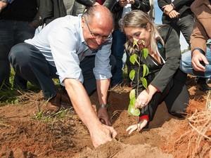 Alckmin plantou mudas de árvores no Parque Estadual do Rio do Peixe (Foto: A2 Fotografia/Alexandre Moreira)