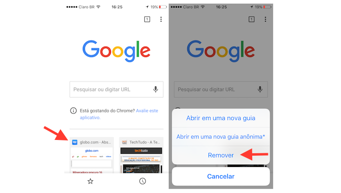 Removendo a miniatura de um site da página inicial do Google Chrome para iPhone (Foto: Reprodução/Marvin Costa)