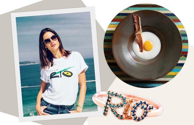 Alessandra Ambrosio veste a camiseta da campanha #teamrio, com logotipo de Francisco Costa. Ao lado, anel Rio, da Thea Jewelry, e purê de inhame com leite de coco e gema de ovo, acompanhados por carne-seca, do Lasaï (Foto: Imaxtree, Getty Images, Xxxx, Cleiby Trevisan e Divulgação)