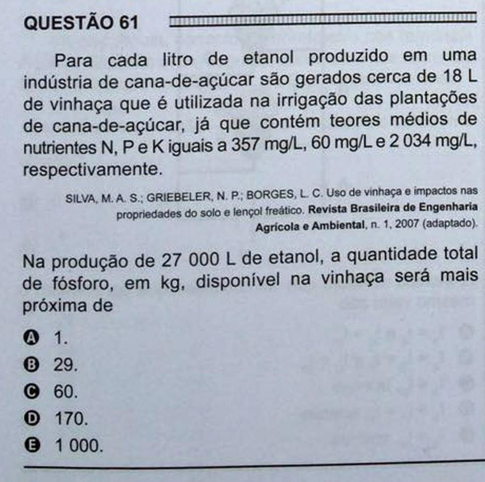 ENEM 2016 - 1º DIA - PROVA BRANCA - QUESTÃO 61 (Foto: G1 )