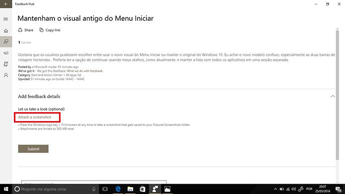 Feedback Hub permite que usuário adicione prints a reclamações de outras pessoas (Foto: Reprodução/Elson de Souza)