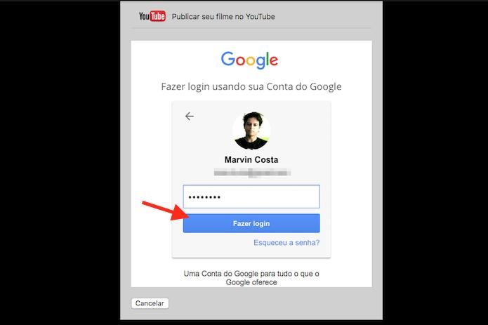 Realizando login em uma conta do YouTube para ativar o compartilhamento do Quicktime no Mac OS (Foto: Reprodução/Marvin Costa)