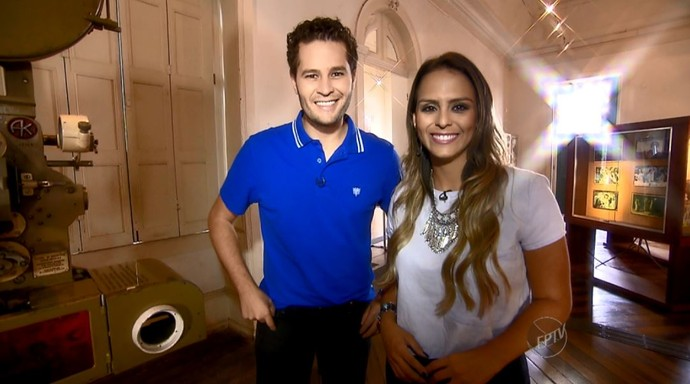 Pedro Leonardo e Aline Lima no Museu de Imagem e Som de Campinas (Foto: reprodução EPTV)
