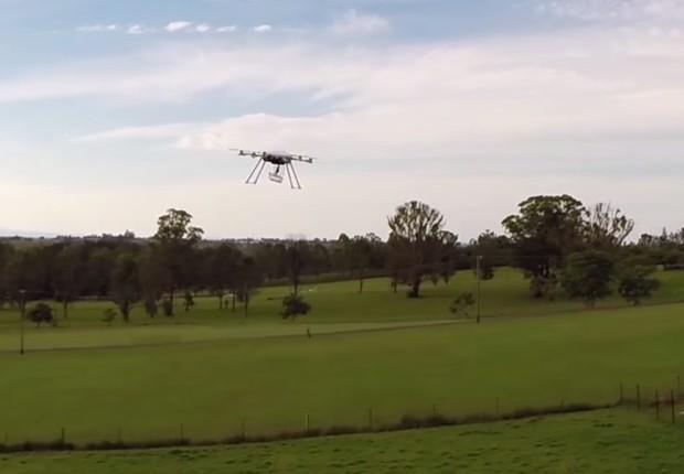 Drone da Flirtey: a primeira entrega pelo ar autorizada nos Estados Unidos (Foto: reprodução)