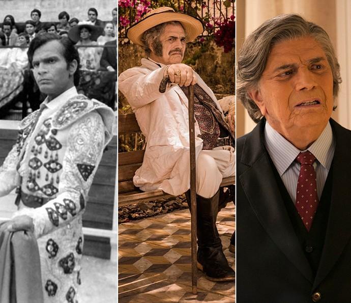Tarcísio Meira em 'Sangue e Areia', 'Velho Chico' e 'A Lei do Amor' (Foto: Memória Globo/Gshow)
