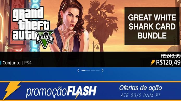Promoção Flash Sale da PlayStation Network tem GTA 5 por menos de R$ 100 e pacotes do game com dinheiro virtual (Foto: Reprodução/Rafael Monteiro)