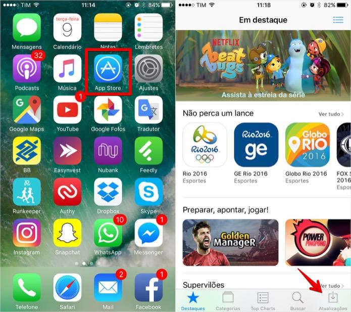 Acessando a App Store do iPhone (Foto: Reprodução/Helito Bijora)