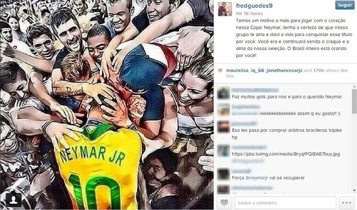 Jogador Fred foi um dos companheiros de Neymar que publicaram fotos de apoio ao craque (Foto: Reprodução/Instagram)