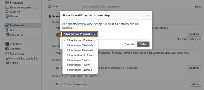 Selecione o período de tempo para silenciar as notificações do Facebook no Chrome (Foto: Reprodução/Barbara Mannara)