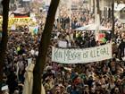 Austríacos fazem manifestação em apoio a chegada de refugiados