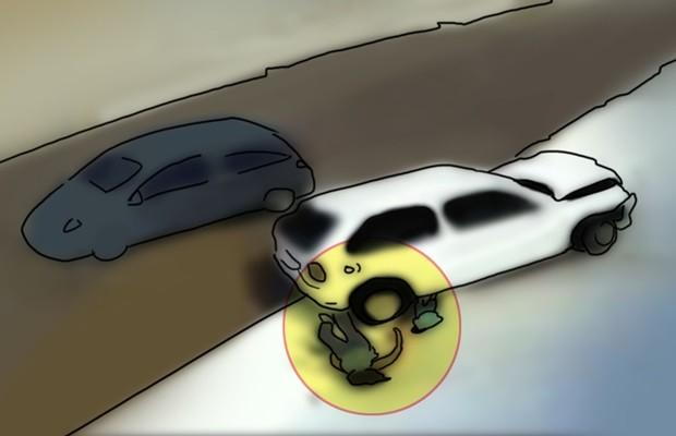 O Gol manteve uma trajetória circular após ser atingido pelo Fit e, ao cair, o quadril da avó empurra o menino para baixo do carro. Como a roda estava esterçada, existia um vão entre o pneu e a lataria do carro, exatamente onde o menino se encaixou. (Foto: Arte/TV Anhanguera)