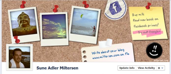 Usuário criou um mural de fotos na sua capa do facebook (Foto: Reprodução/ShoutMeLoud)