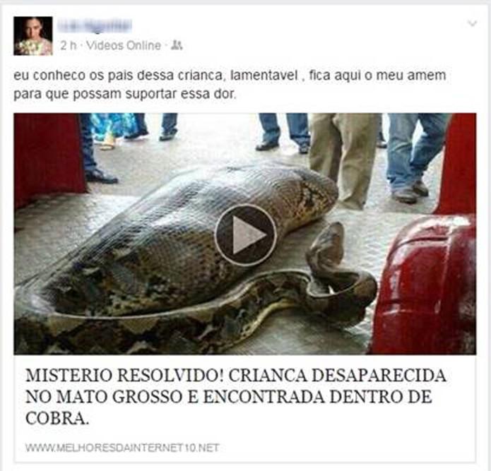 Vídeos de cobra gigante e prova de crime são novo golpe no Facebook.
