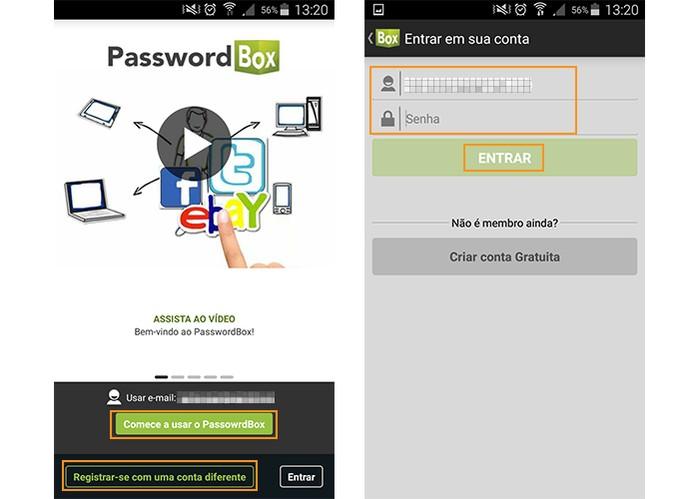 Faça o cadastro com senha no PasswordBox (Foto: Reprodução/Barbara Mannara)