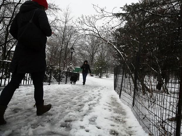 Prospect Park, no bairro do Brooklyn, em Nova York, está coberto pela neve em foto deste sábao (24): nevascas estão previstas para o nordeste dos Estados Unidos  (Foto: Spencer Platt/Getty Images/AFP)