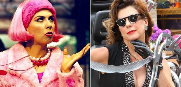 Angela Dippe caracterizada como Penélope (à esquerda) e Rosana (à direita) (Foto: Divulgação)